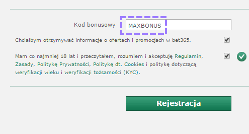 bet365 kod bonusowy