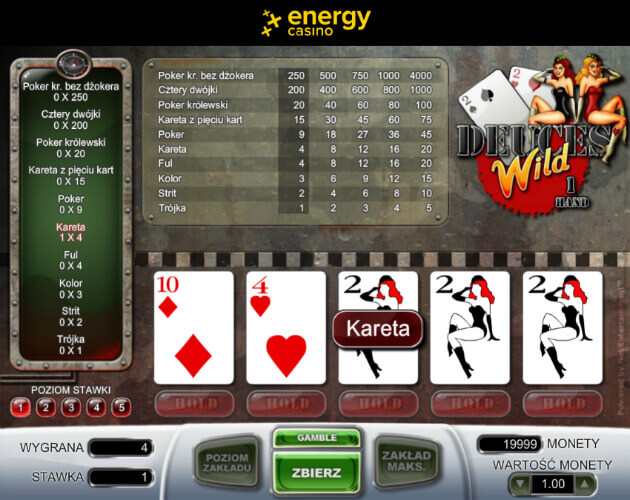 Energy Casino poker Deuces Wild