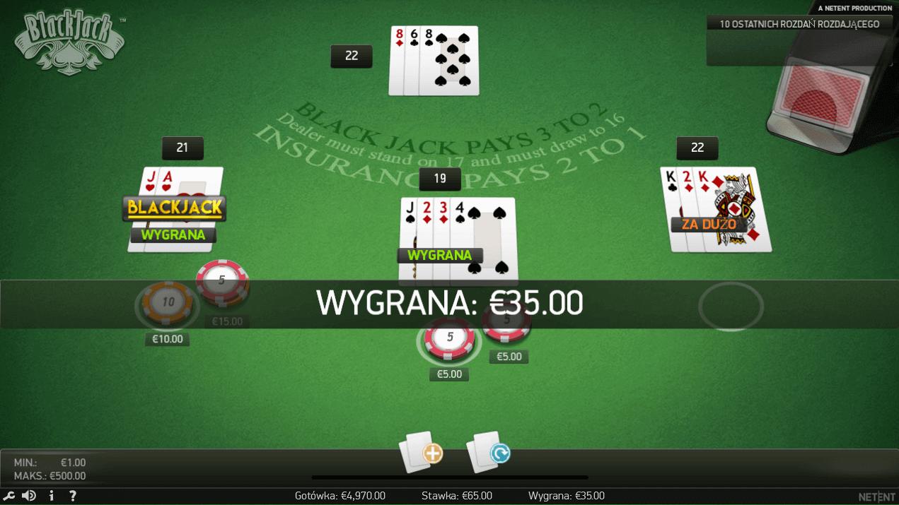 Blackjack online w Monte Carlo