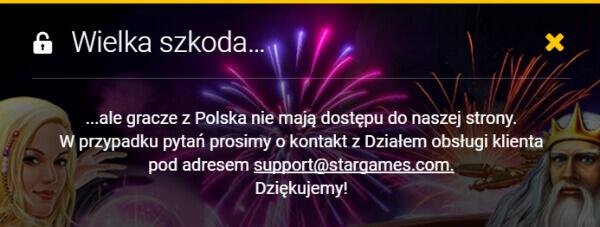 Stargames w Polsce - blokada