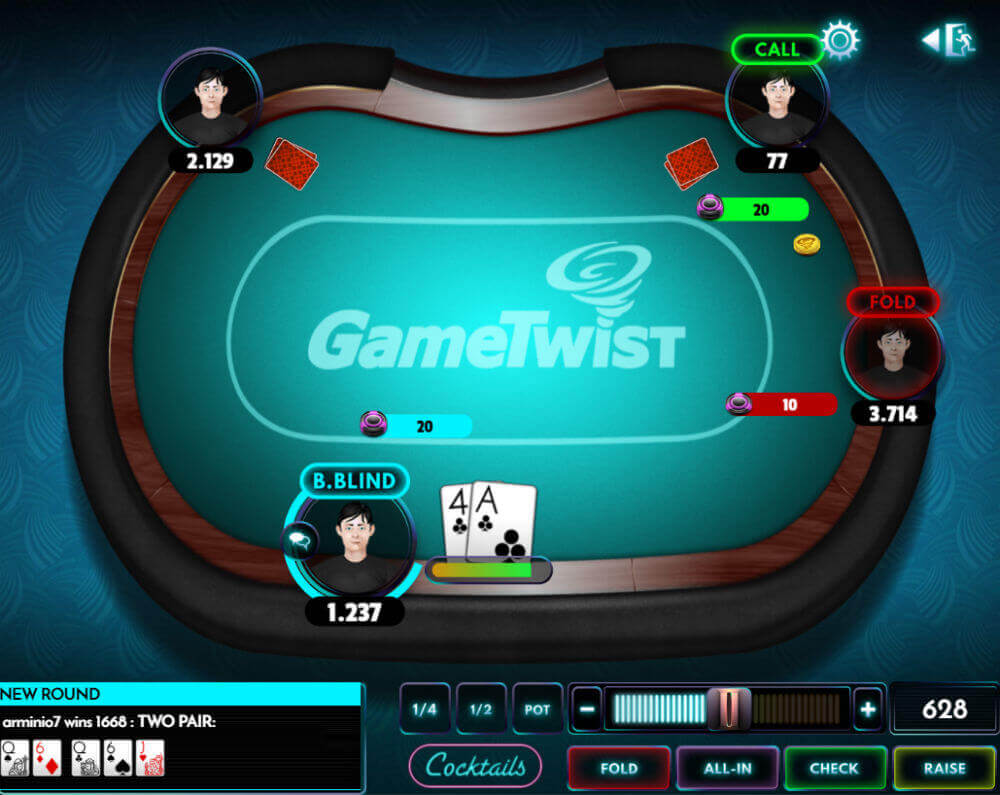 Poker dla zabawy na Gametwist