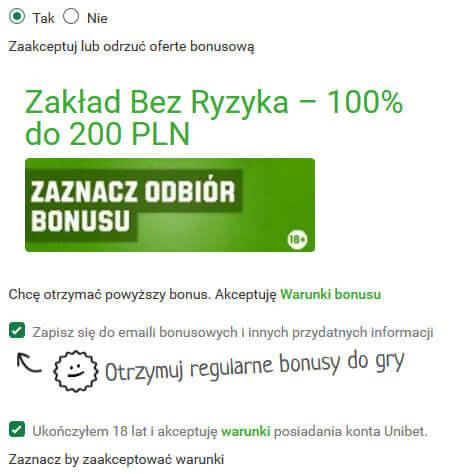 Unibet zakład bez ryzyka do 200 zł
