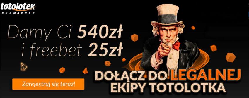 Totolotek bonus 540 zł + freebet 25 zł!