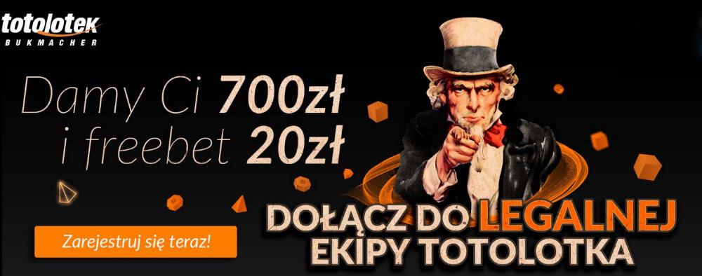 Totolotek bonus 700 zł + freebet 20 zł!