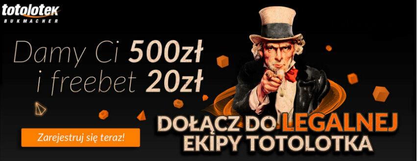 Totolotek bonus freebet 20 zł + 500 zł