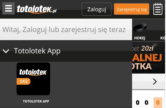 Zakłady bukmacherskie - aplikacja: Totolotek