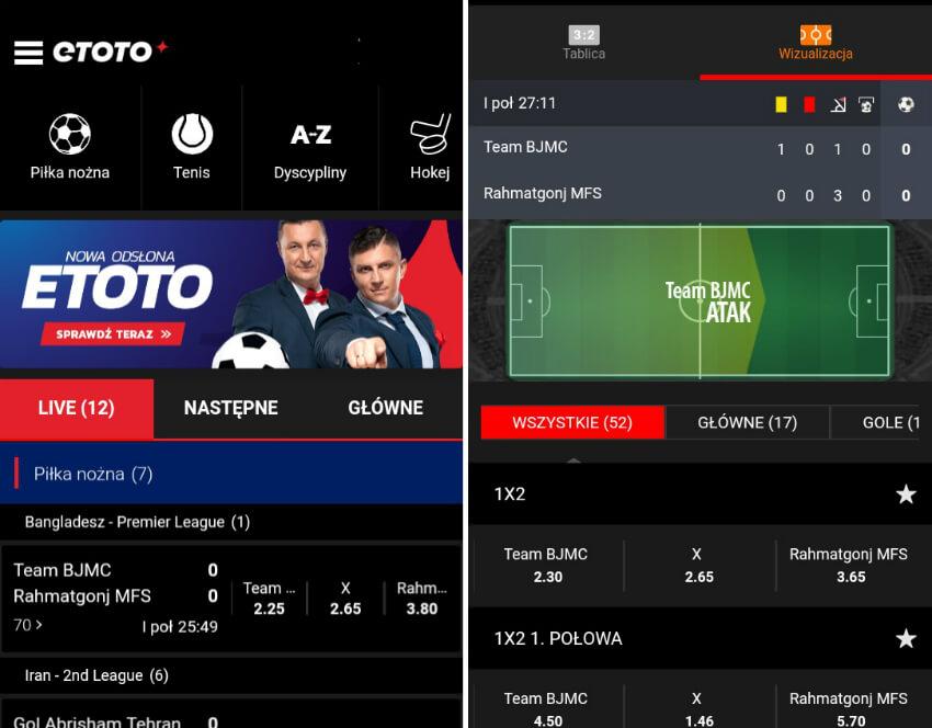 eToto kod bonusowy - aplikacja mobile