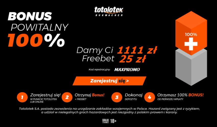 totolotek bonus 1111 zł + 25 zł freebet