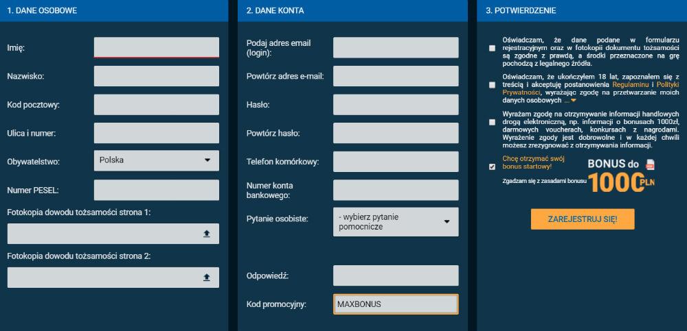 STS rejestracja kod promocyjny MAXBONUS