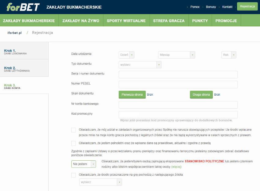 forBET kod promocyjny - rejestracja