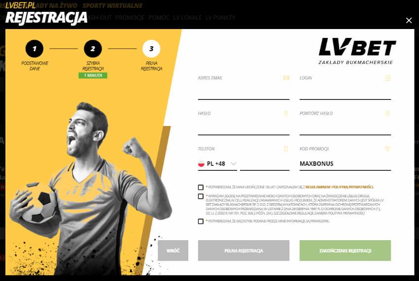 LVbet szybka rejestracja - kod promocji