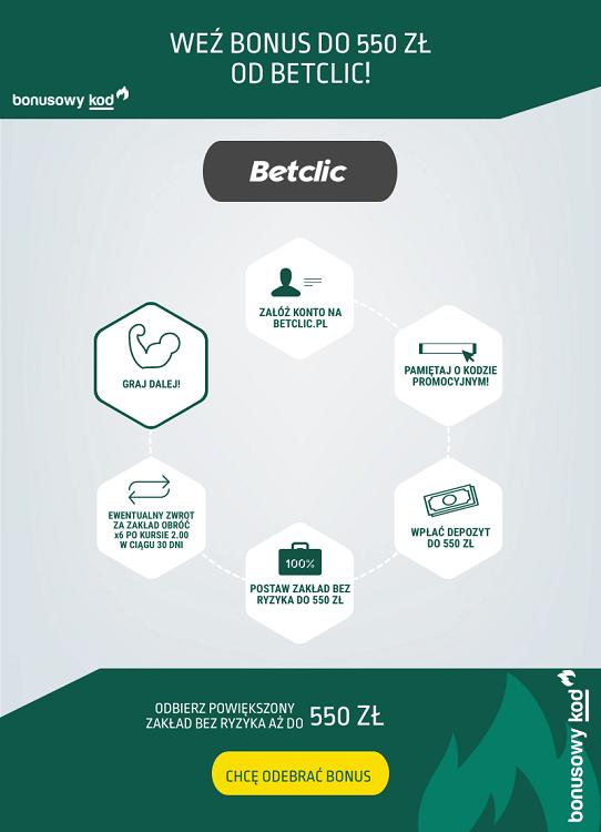 Betclic bonus 550 zł