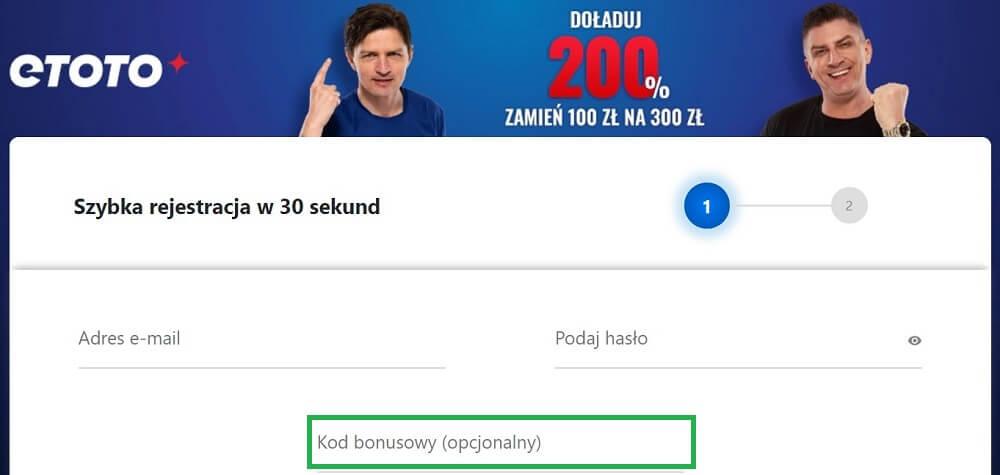 eToto kod bonusowy - rejestracja